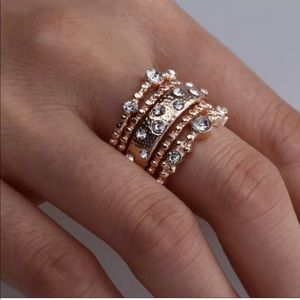 Jewelry - ROSE GOLD RHINESTONE STACKED RING SET OF 5